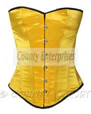Overbust Full Steel Boned Fullbust Spiral Victorian Bustier Yellow Satin Corset