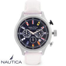 Nautica . NAI18516G . Armband Uhr Herren . Chronograph . Leder . weiss . NEU