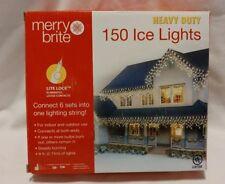 Merry Brite 150 Ice Lights White Wire 9ft Indoor/outdoor Heavy Duty New