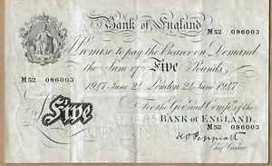 BANK OF ENGLAND BANKNOTE 5 P343 1947- PEPPIATT - M52 086003 GVF