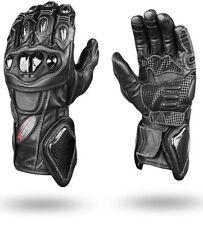 Gants noirs en cuir en kevlar pour motocyclette