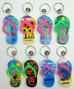 Lot of 8 Different Plastic Hawaii Souvenir Flip Flop Key Chain Fobs By RBCI