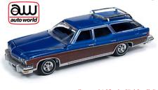 Auto World Buick Estate Vagón 1974 Azul Madera Moldura 64222A 1/64