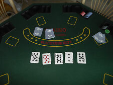 Poker & Blackjack Table Top with Case Solid Wood Drink Holder Deluxe