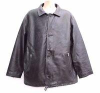 Men's Vintage OFF SET Hip Length Black 100% Real Leather Jacket Coat size XL XXL