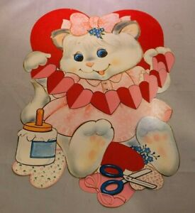 Vintage Valentines Day Paper Window Decoration Fuzzy Double Sided