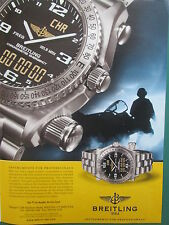 9/2002 PUB MONTRE BREITLING WATCHES CHRONOMETRE EMERGENCY NAVY AVIATION AD