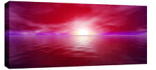 "LARGE MODERN RED SEASCAPE SUNSET CANVAS PICTURE 44""x20"""
