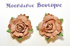 "1"" Light Brown Rose Paper Flower Pierced Post Earrings Wedding Bridal Autumn"