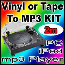 NEW 5 Meter Tape Turntable Vinyl LP Converter To PC Laptop MP3 & CD Transfer Kit
