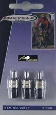 3x Fahrradventil, Fahrrad Ventil mit Mutter und Kappe Blitzventil Fahrradventile