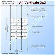espositore a cavetti con cartelle in plexiglas formato A4 kit 3x3 verticale
