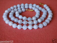 "Natural Blu Pizzo Agate COLLANA 8mm perline 22 ""grado"" A "" 8 mm bluelace beads"