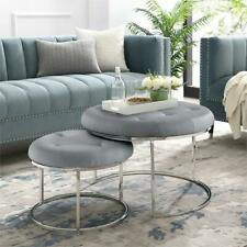 Aaden Tufted Pu Leather Nesting Ottoman Set of 2 Grey/Chrome