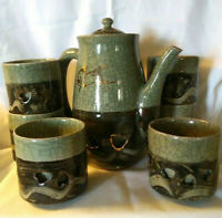 "Vintage 8pc Lot Somayaki Ware -8C Coffee / Tea Pot w/ (6) 3 1/2"" Cups - Flawless"