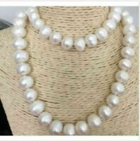 "35"" AAA 14-12 MM SOUTH SEA NATURAL White PEARL NECKLACE 14K GOLD  CLASP"