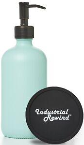 Seafoam Soap Dispenser w/ Oil Rubbed Bronze Soap Pump Lotion Dispenser 16oz Teal