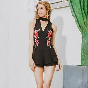 Womens Sexy V Neck Rose Embroidered Jumpsuits Playsuits Romper Clubwear 8C
