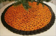 "Halloween Floor Tree Skirt - 47"" - Spooky Pumpkin Faces - Custom Made"