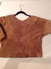 BROWN SUEDE BLOUSE MADE IN CANADA SIZE 13/14 Unique!!