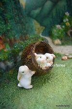 3 Bunnies in Walnut/Nut  Miniature Fairy Garden /Dollhouse Bunny Rabbit GO 16642