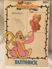 "Butterick 3499 sewing pattern 13"" Stuffed RHINOKEY monkey WUZZLES 80s Disney"