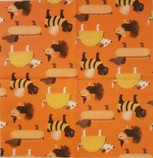 Two(2) Paper Napkins for Decoupage Halloween Dogs Costumes Tutu Bee Taco Hot Dog