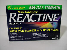 NIB Quality Reactine 24 Hour 36 Count Non Drowsy 20 Minute Nasal Allergy Tablets