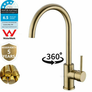 WELS Kitchen Sink Mixer Taps Swivel Spout Single Lever Brass Faucet Brushed Gold