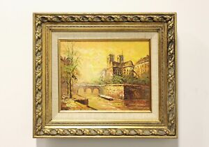 Original Acrylic on Canvas Painting of Notre-Dame On Seine signed P.G. Tiele