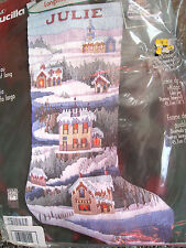 "Bucilla Christmas Longstitch Needlepoint Stocking Kit,VILLAGE SCENE,18"",#84648"