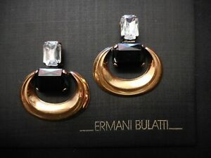 NEW Signed Ermani Bulatti Bronze Tone CLIP Earrings with Plexi & Glass Stones