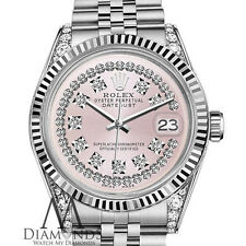 Ladies Rolex 26mm Datejust SS Pink String Diamond Dial with Vintage Style Marker