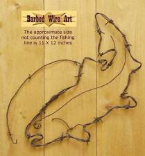 Trout - handmade metal barbed wire art fish animals artist US lure sculpture