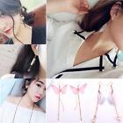 1 Pair Korean Women Pearl Crystal Wings Ear Dangle Drop Stud Earrings Jewelry