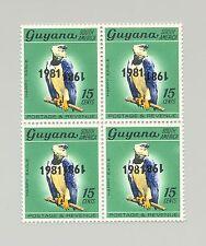 Guyana #350 Harpy Eagle, Birds Double o/p Black Error, Inverted 1x 1v Block of 4