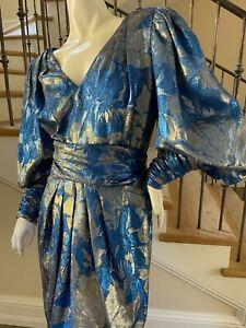 Guy Laroche 1980's Metallic Silk Cocktail Dress with Balloon Sleeves