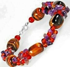 "Jasper & more (genuine gemstones) Beaded Bracelet-Sterling Silver Clasp-7 1/2"" L"