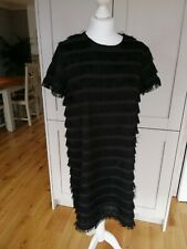 Boohoo Noir Frange Shift tunique robe de soirée avec manches courtes Taille 12