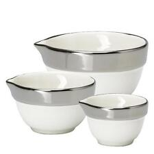 Greengate Set of 3 Measuring bowls with Silver effect rim