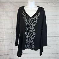 Unity World Wear Womens Knit Top Sz XL Black Gray Long Sleeve