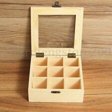 9 Compartment Wooden Tea Bag Storage Box Container Case with Glass Top Chest Tin