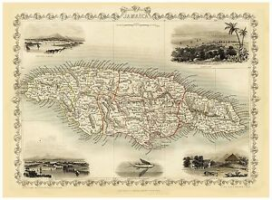 Old Vintage Jamaica decorative map Tallis ca. 1851