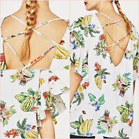 Zara Tropical Floral Oversize Top Lace Up Back Size UK10 12 US 6 8 M Blogger ❤