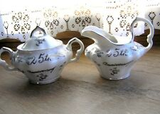 "Small Cream and Sugar 3 Piece Made in Japan Silver 25 years 2 1/2"" high  #2"