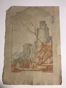 Important ITALIAN old master Charcoal Crayon  Drawing Large Laid Paper unsigned