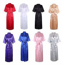 Sexy Long Silk Kimono Dressing Gown Bath Robe Babydoll Lingerie Nightdress UK