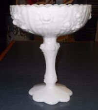 "VINTAGE FENTON WHITE MILK GLASS CABBAGE ROSE COMPOTE STANDS 7 1/2"" HIGH"