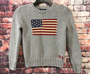 Polo Ralph Lauren Crewneck Sweater USA American Flag Kids Size 6x-7