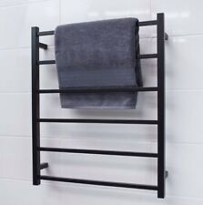 304 Stainless Steel MATTE BLACK Square Heated 6 Bar Towel Rack Ladder Rustproof